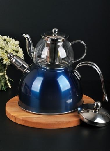 Bayev Düz Renk Düdüklü Cam Çaydanlık-200600 Mavi